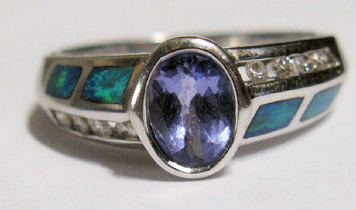 tanzanite and australian opal ring
